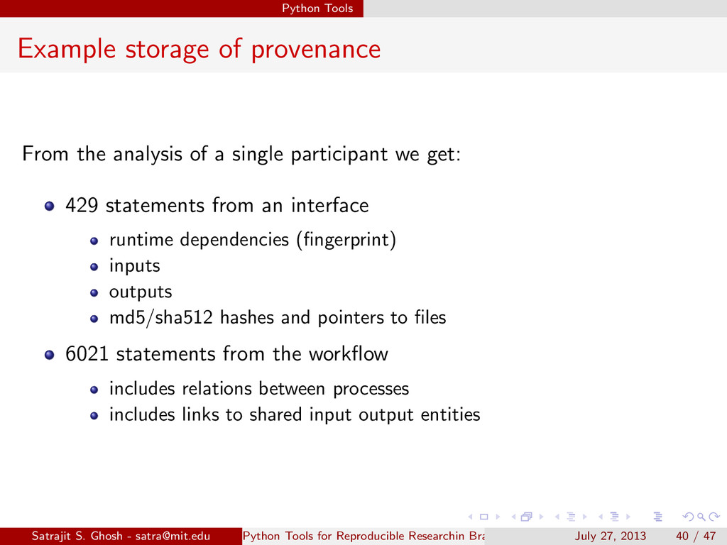 Python Tools Example storage of provenance From...