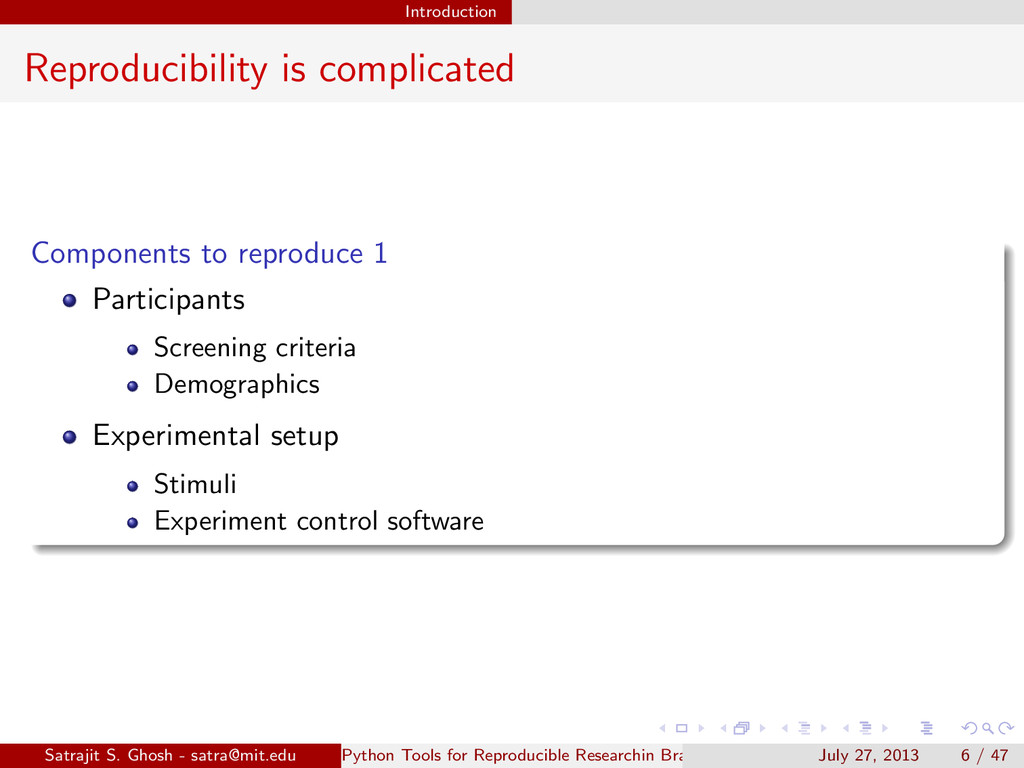 Introduction Reproducibility is complicated Com...
