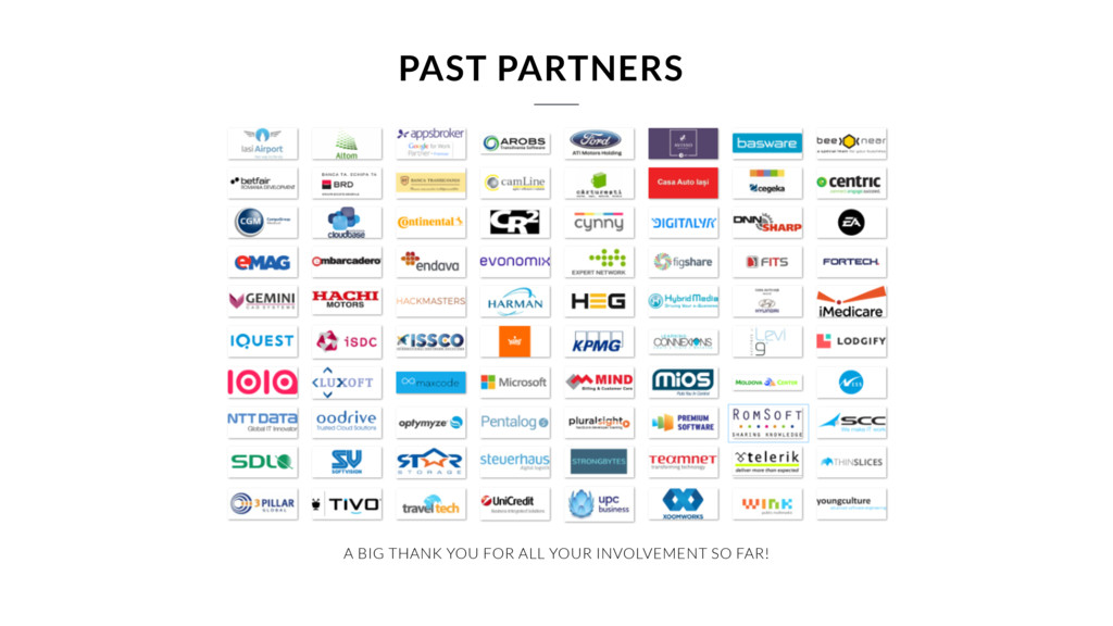 PAST PARTNERS A BIG THANK YOU FOR ALL YOUR INVO...