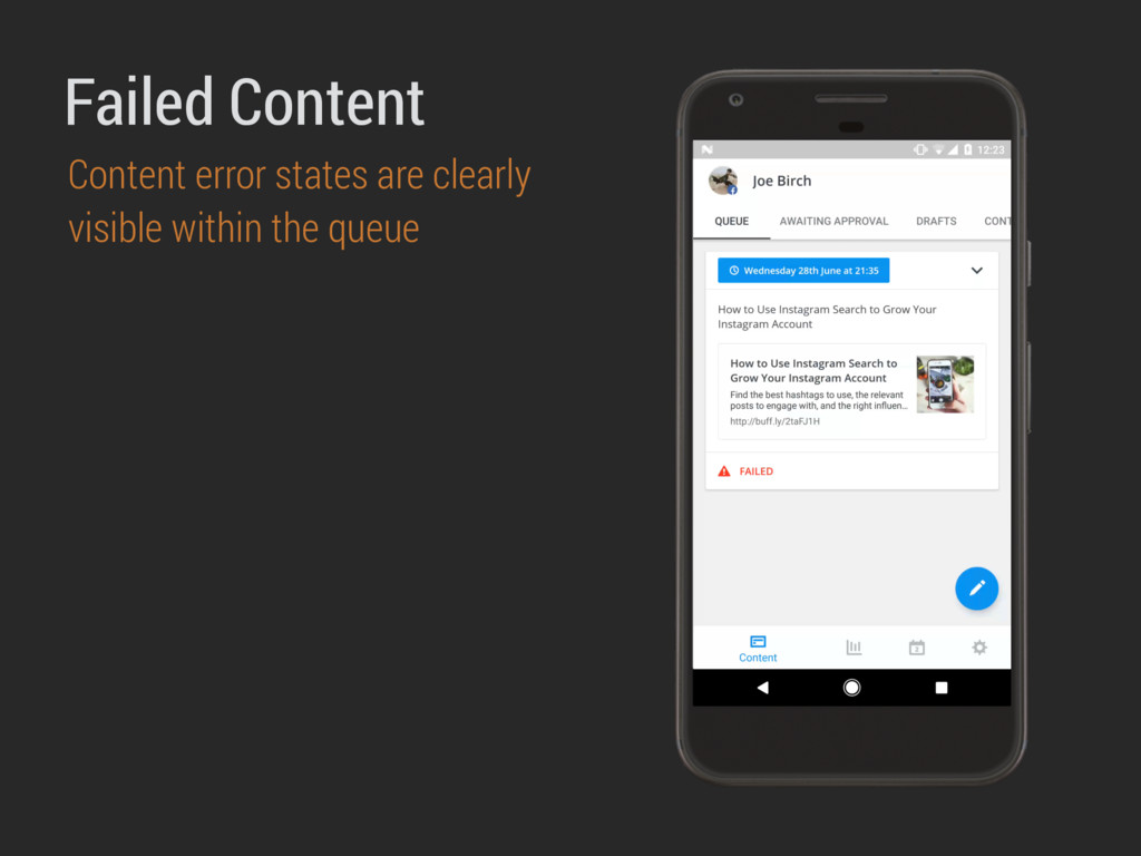 Failed Content Content error states are clearly...