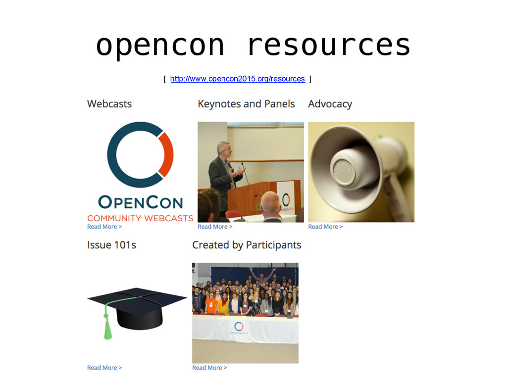 opencon resources! [ http://www.opencon2015.org...