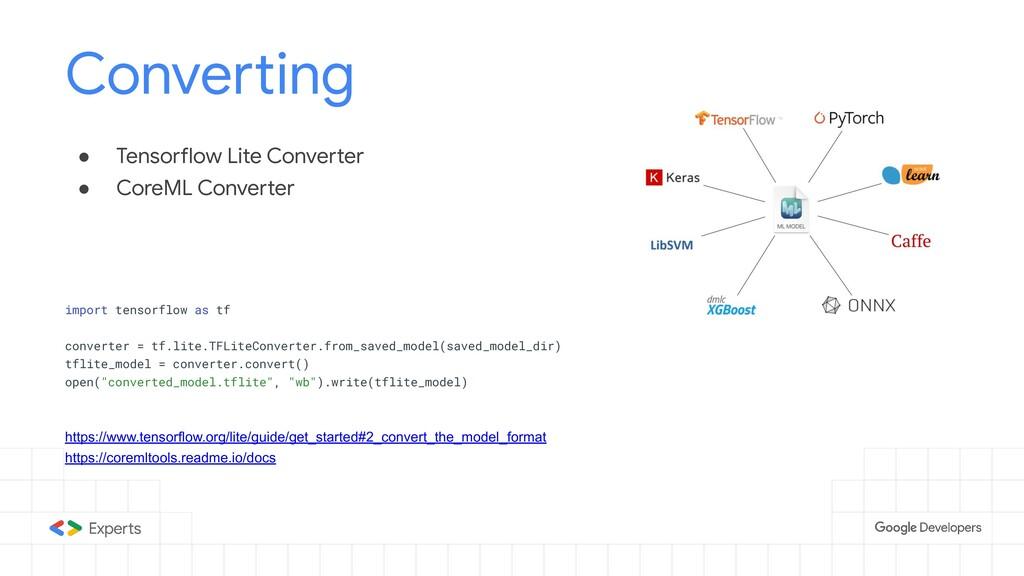 ● Tensorflow Lite Converter ● CoreML Converter ...