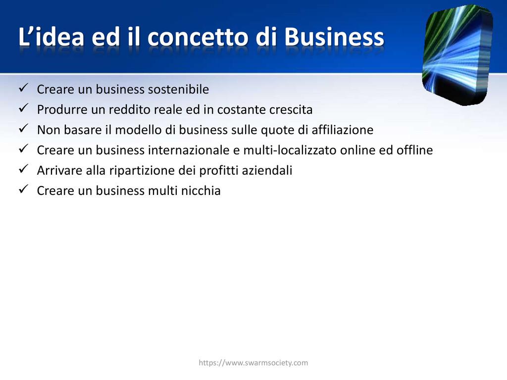 L'idea ed il concetto di Business  Creare un b...