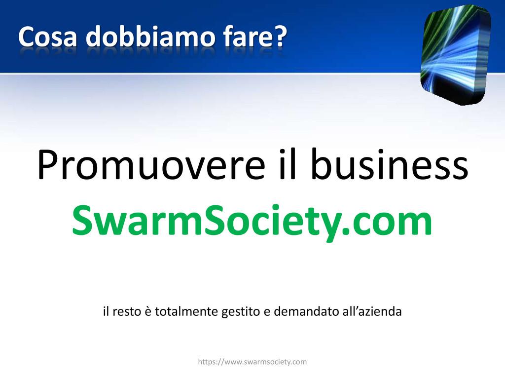 Cosa dobbiamo fare? Promuovere il business Swar...
