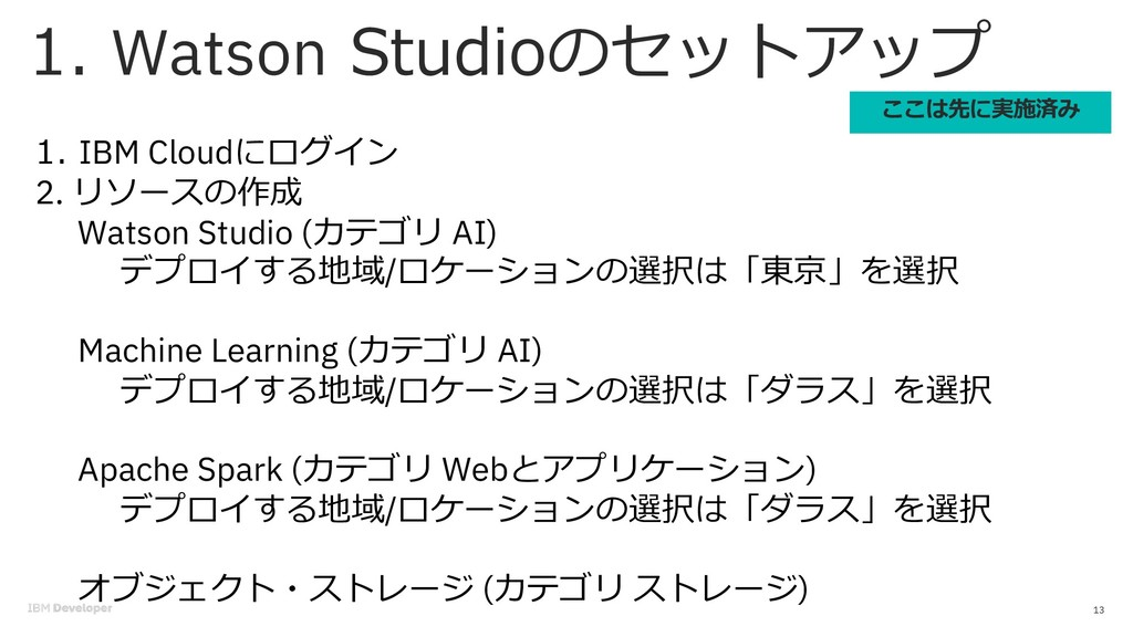 Watson . 13 IBM Cloud 2. . Watson Studio ( AI) ...