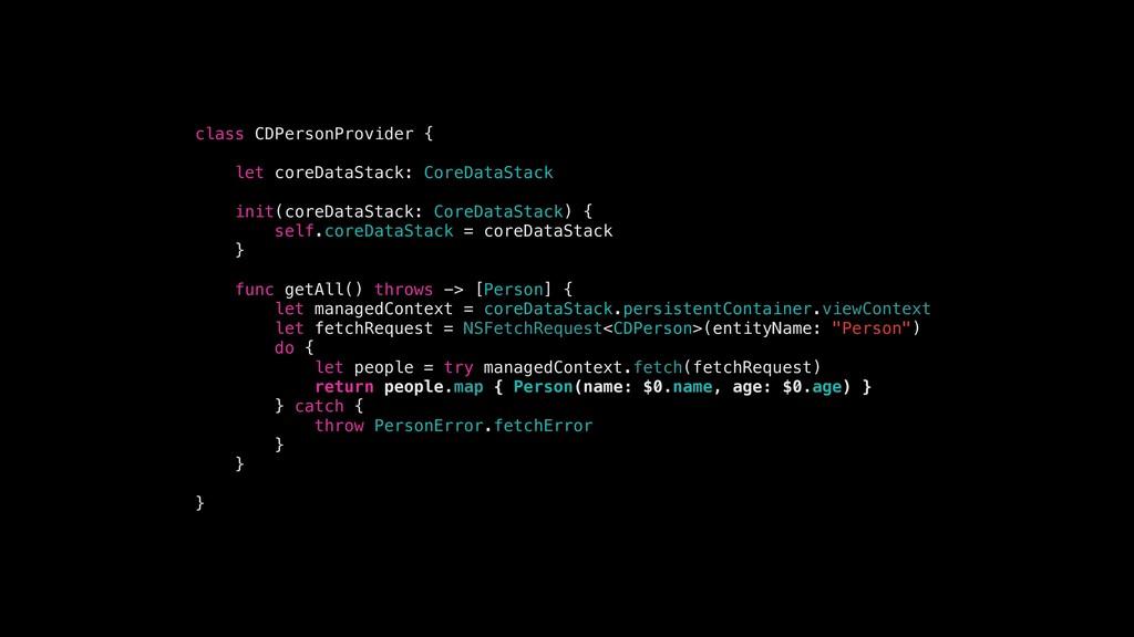 class CDPersonProvider { let coreDataStack: Cor...