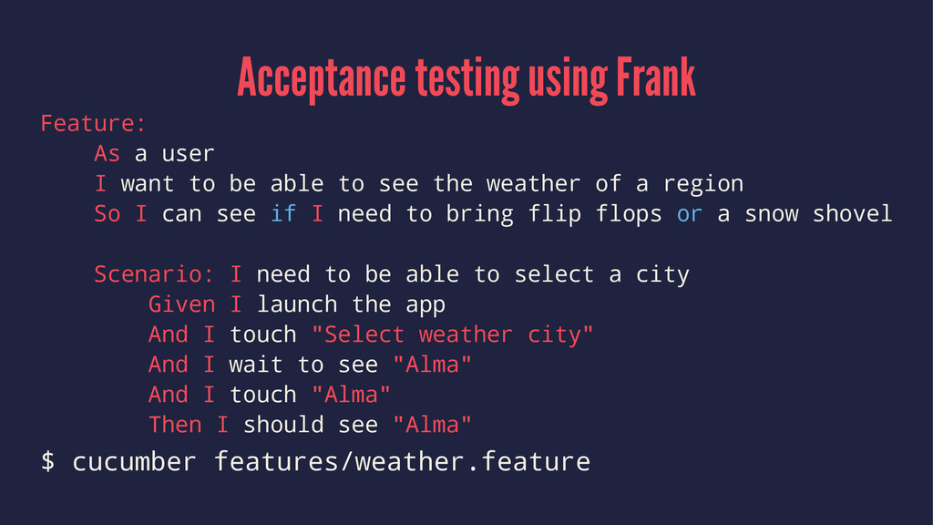 Acceptance testing using Frank Feature: As a us...