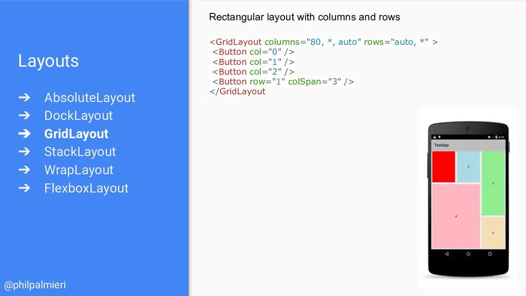 Layouts ➔ AbsoluteLayout ➔ DockLayout ➔ GridLay...