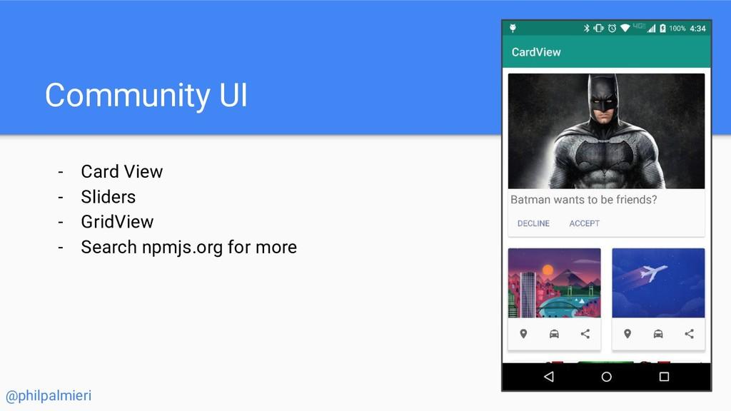 Community UI - Card View - Sliders - GridView -...