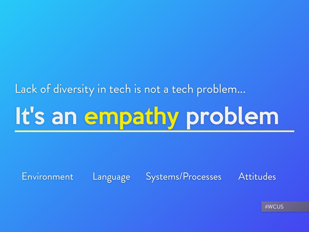 It's an empathy problem Lack of diversity in te...