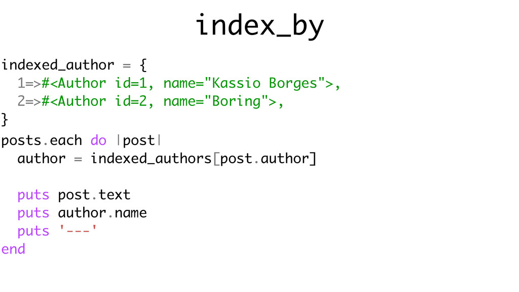 index_by posts.each do |post| author = indexed_...