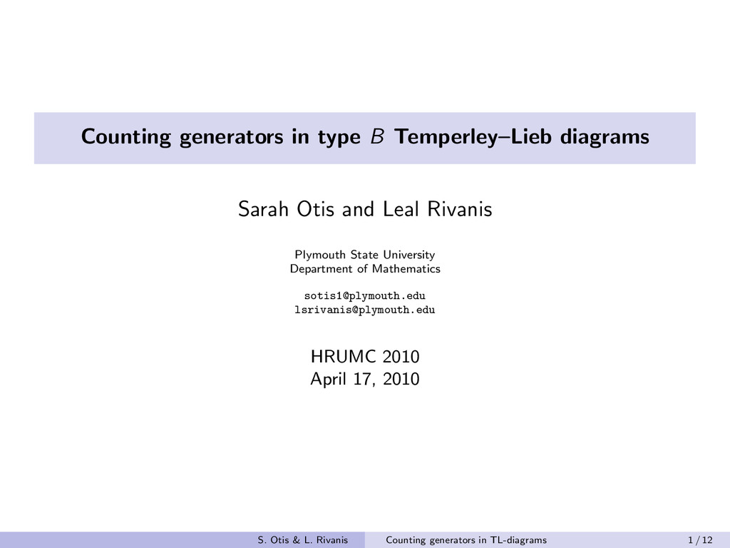 Counting generators in type B Temperley–Lieb di...
