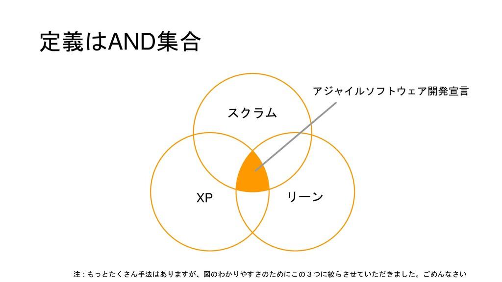 定義はAND集合 アジャイルソフトウェア開発宣言 スクラム XP リーン 注 : もっとたくさ...