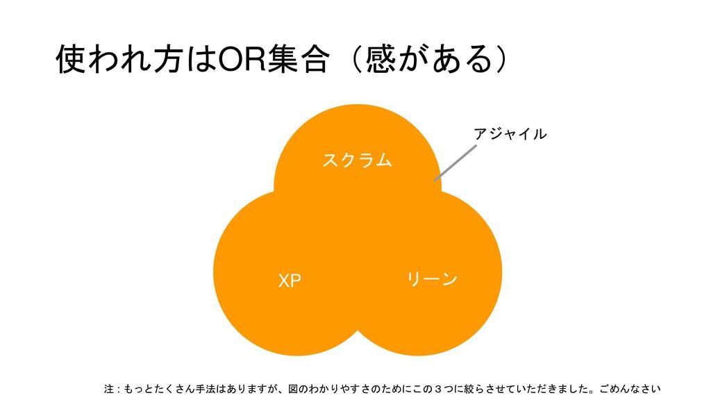 使われ方はOR集合(感がある) アジャイル スクラム XP リーン 注 : もっとたくさん手法...
