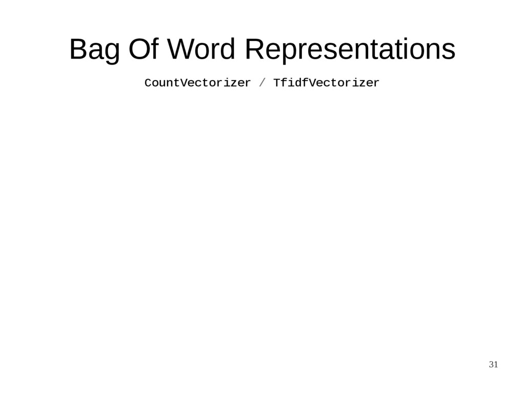31 Bag Of Word Representations CountVectorizer ...