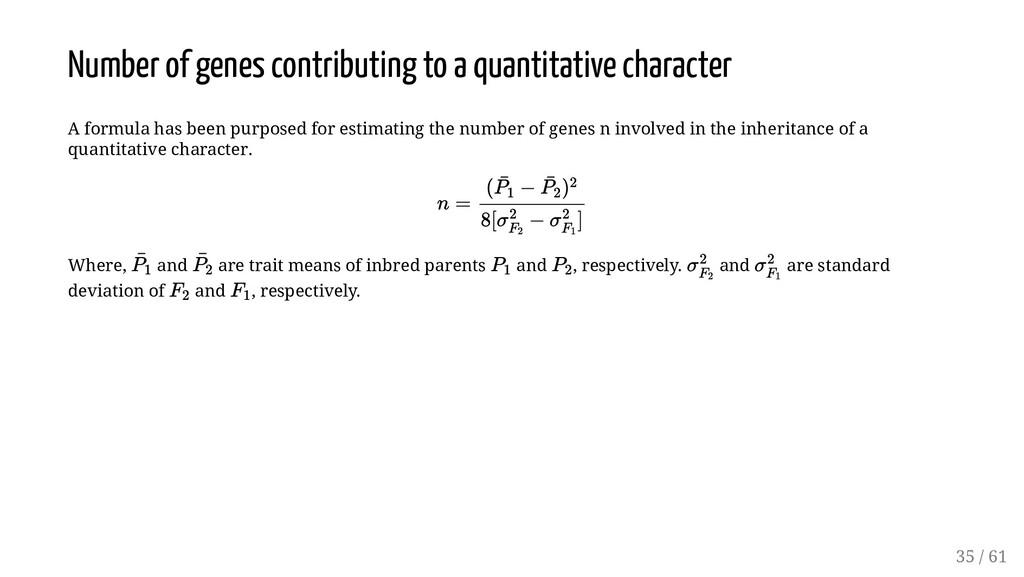 Number of genes contributing to a quantitative ...