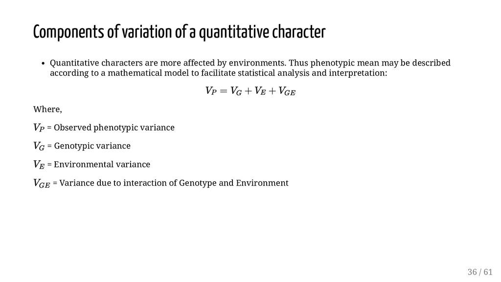 Components of variation of a quantitative chara...