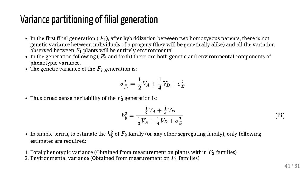 Variance partitioning of lial generation In the...