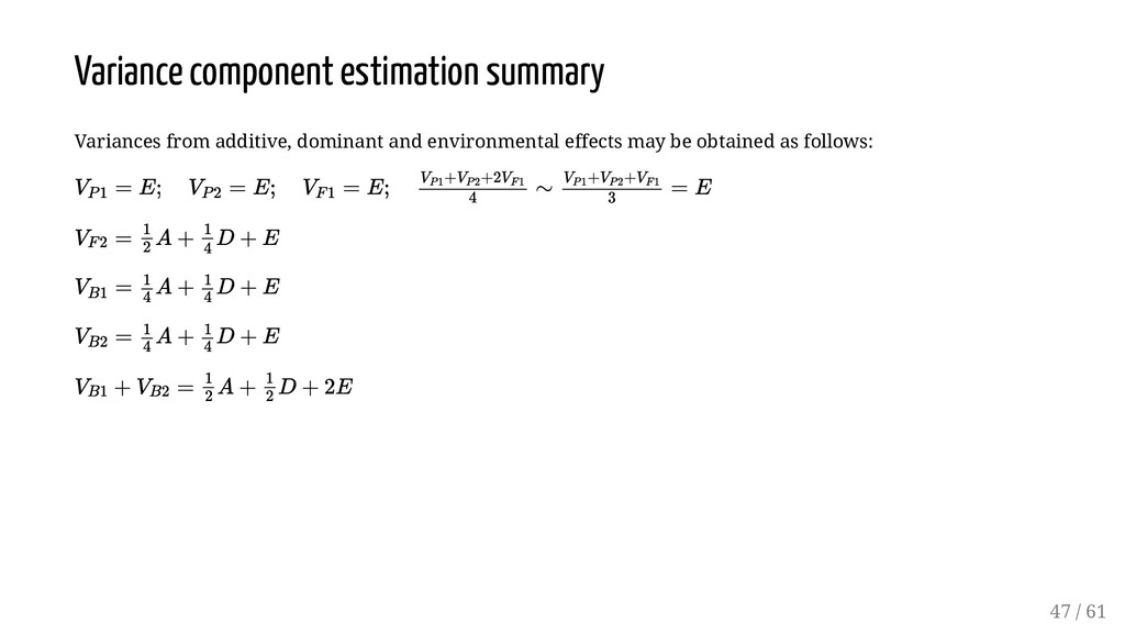 Variance component estimation summary Variances...