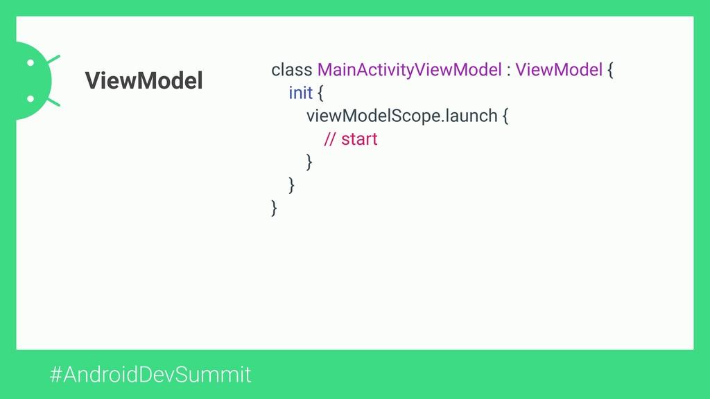 #AndroidDevSummit ViewModel class MainActivityV...