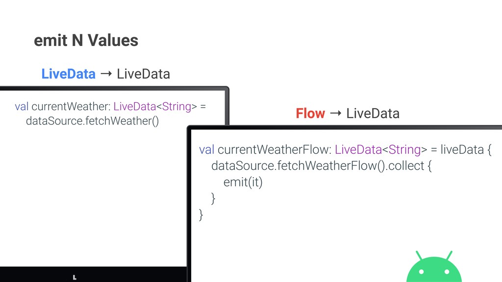 emit N Values val currentWeather: LiveData<Stri...