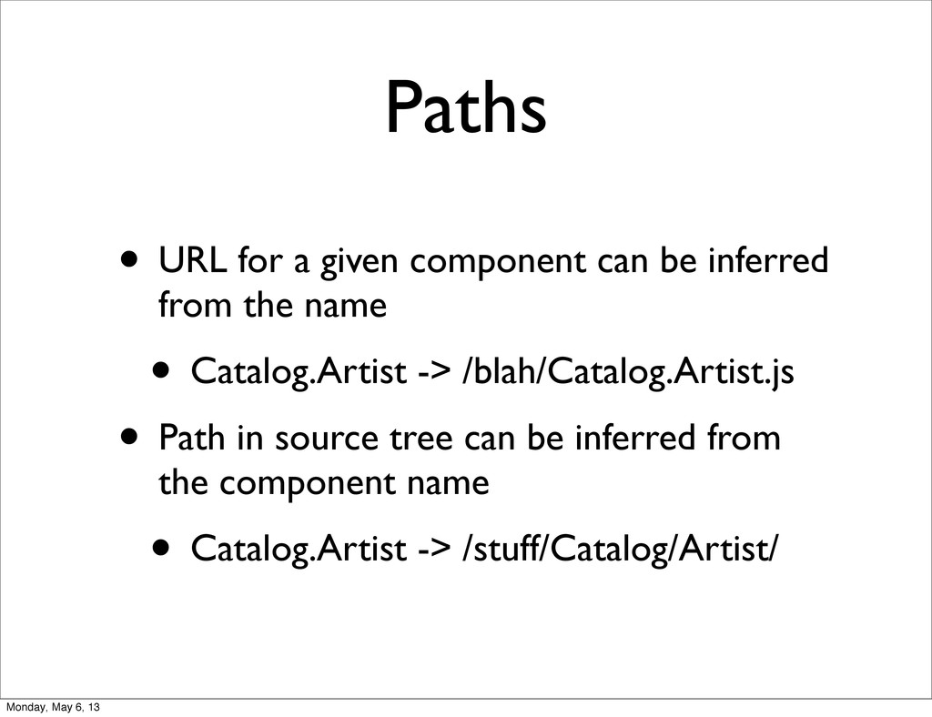 Paths • URL for a given component can be inferr...
