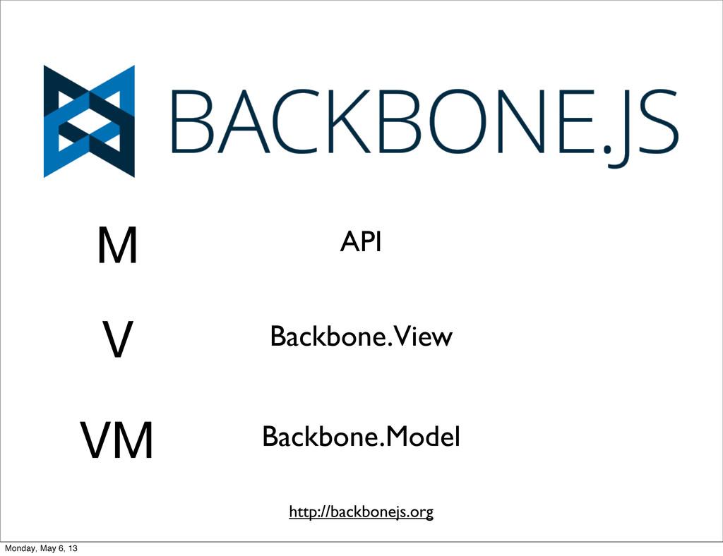 M V VM API Backbone.View Backbone.Model http://...