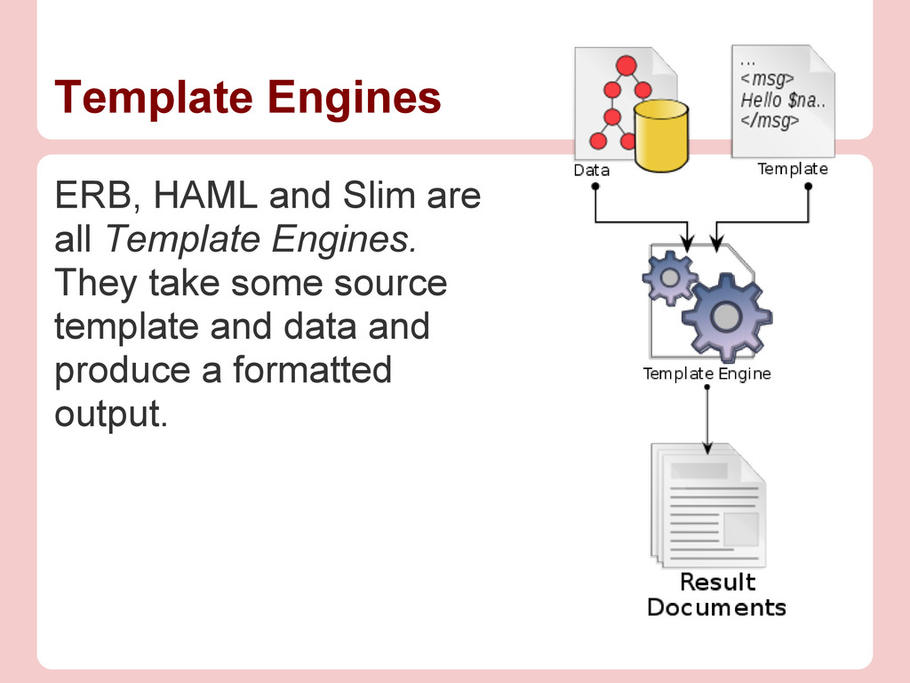ERB, HAML and Slim are all Template Engines. Th...