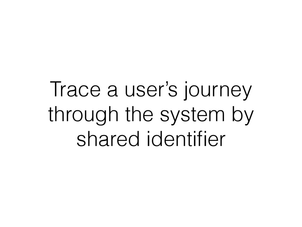 Trace a user's journey through the system by sh...