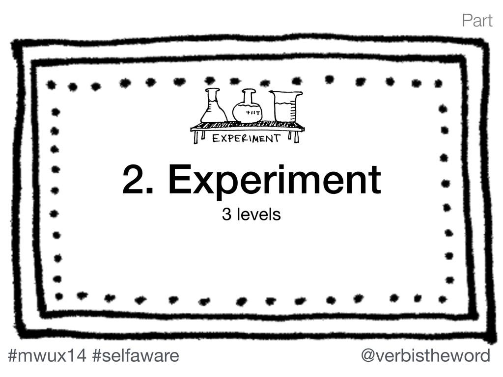 Part #mwux14 #selfaware @verbistheword 2. Exper...