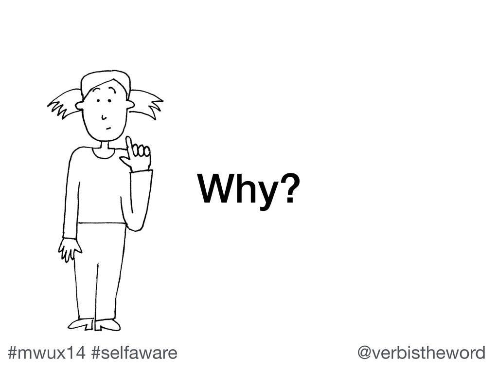 #mwux14 #selfaware @verbistheword Why?