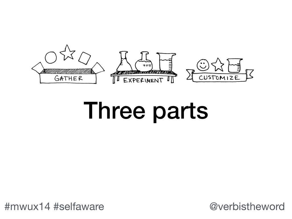 #mwux14 #selfaware @verbistheword Three parts