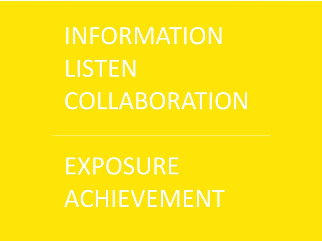 INFORMATION LISTEN COLLABORATION EXPOSURE ACHIE...