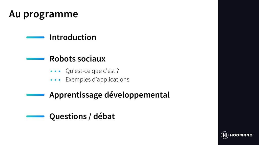 Au programme Introduction Robots sociaux Appren...