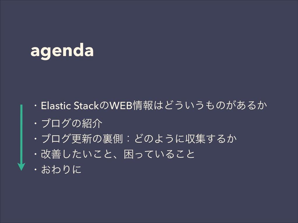 agenda 独Elastic StackͷWEBใͲ͏͍͏ͷ͕͋Δ͔ ɾϒϩάͷհ...