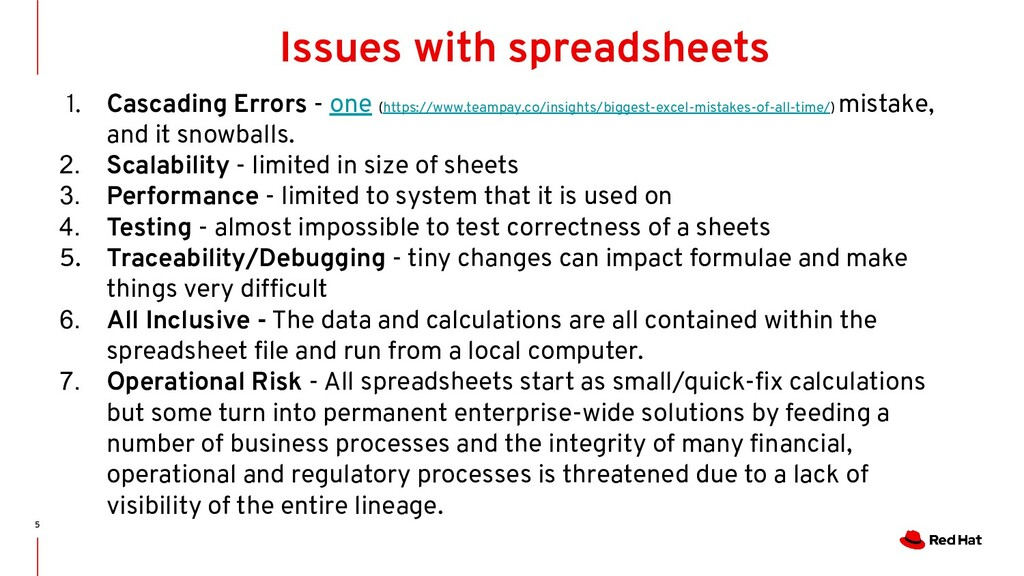 5 Issues with spreadsheets 1. Cascading Errors ...
