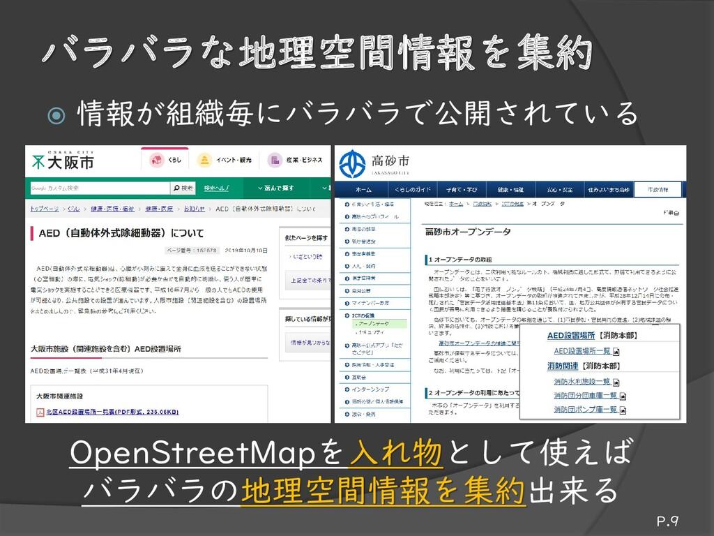 バラバラな地理空間情報を集約 P.9 OpenStreetMapを入れ物として使えば バラバラ...