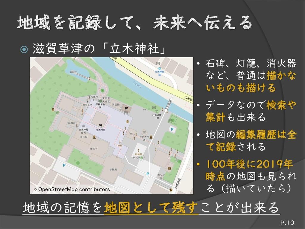 地域を記録して、未来へ伝える  滋賀草津の「立木神社」 P.10 • 石碑、灯籠、消火器 な...