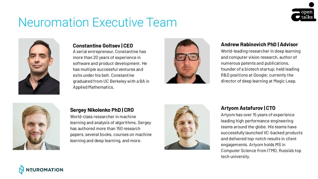 CONFIDENTIAL Neuromation Executive Team Sergey ...