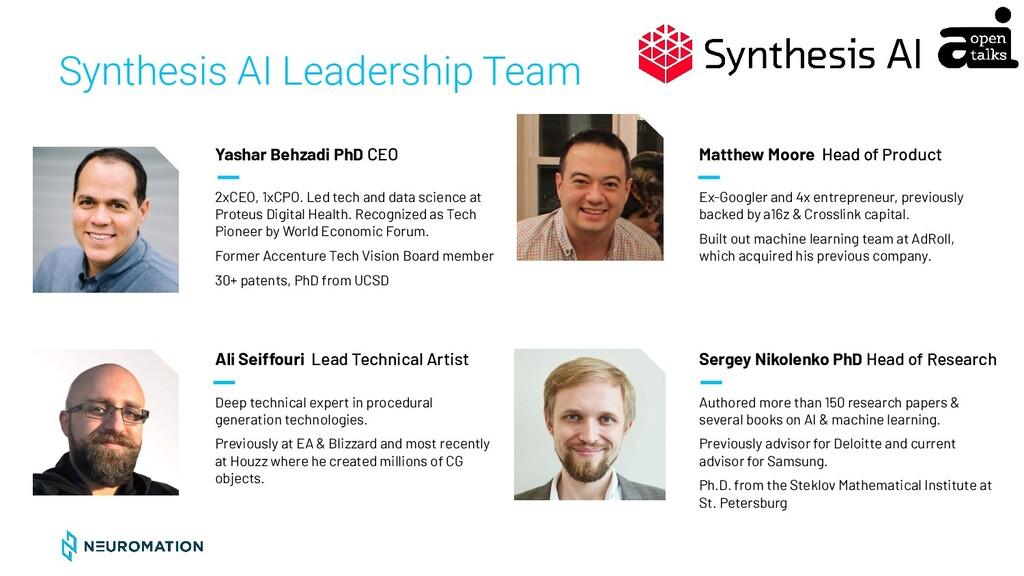 CONFIDENTIAL Synthesis AI Leadership Team Yasha...