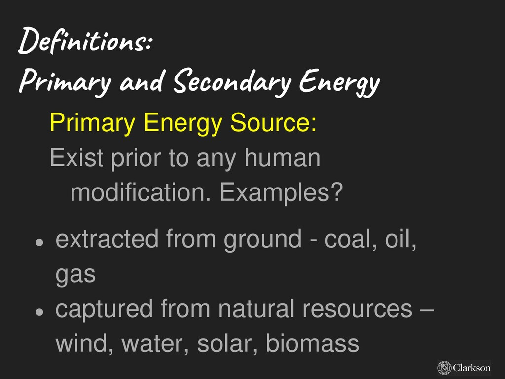 Definitions: Primary and Secondary Energy Prima...