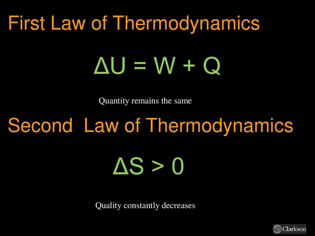 First Law of Thermodynamics ΔU = W + Q Second L...