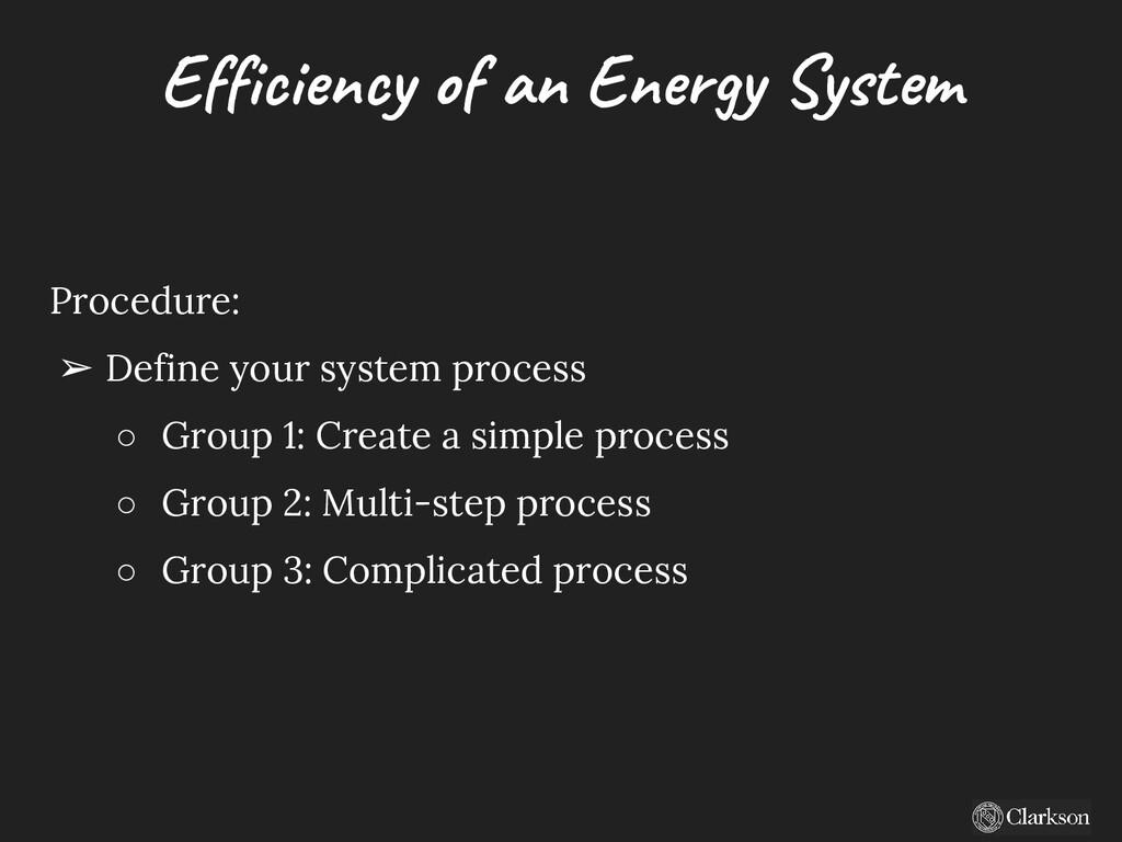 Efficiency of an Energy System Procedure: ➢ Def...