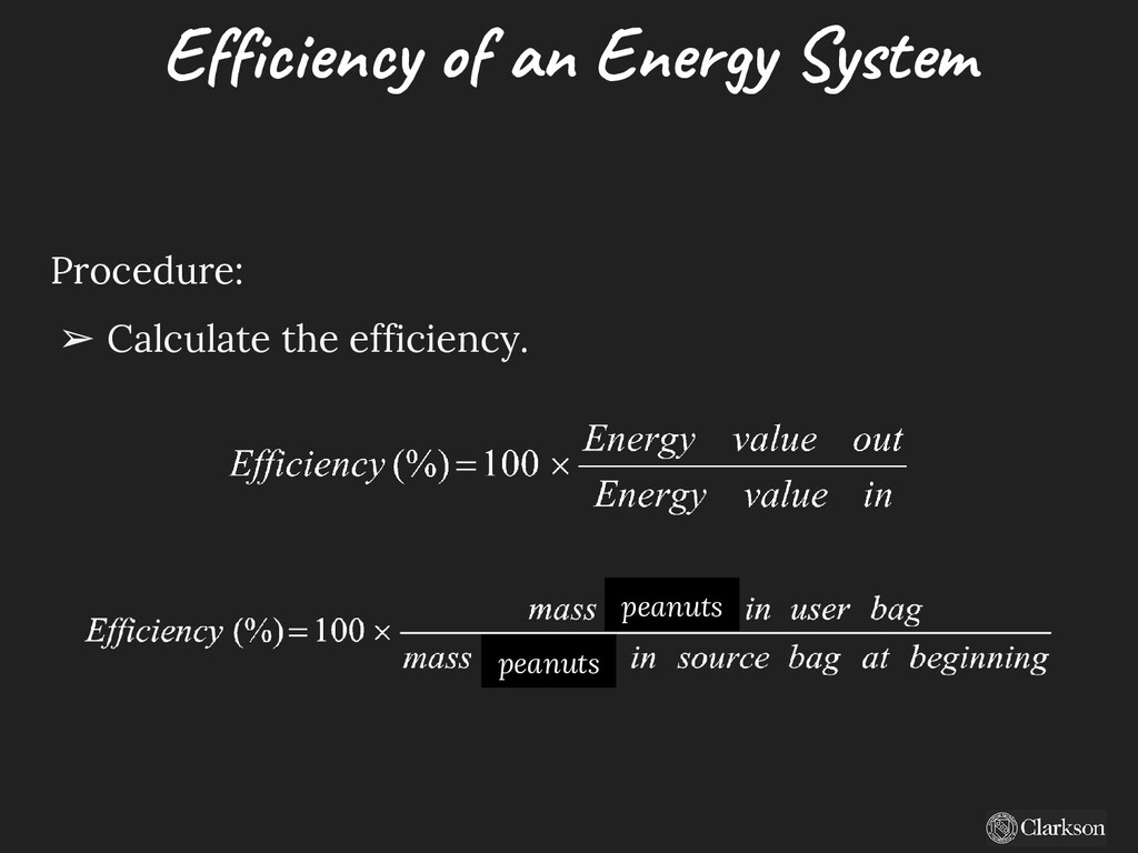 Efficiency of an Energy System Procedure: ➢ Cal...