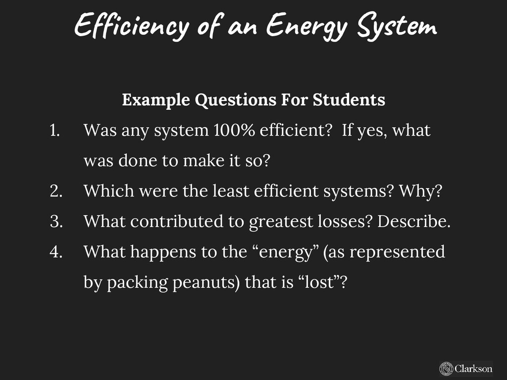 Efficiency of an Energy System Example Question...
