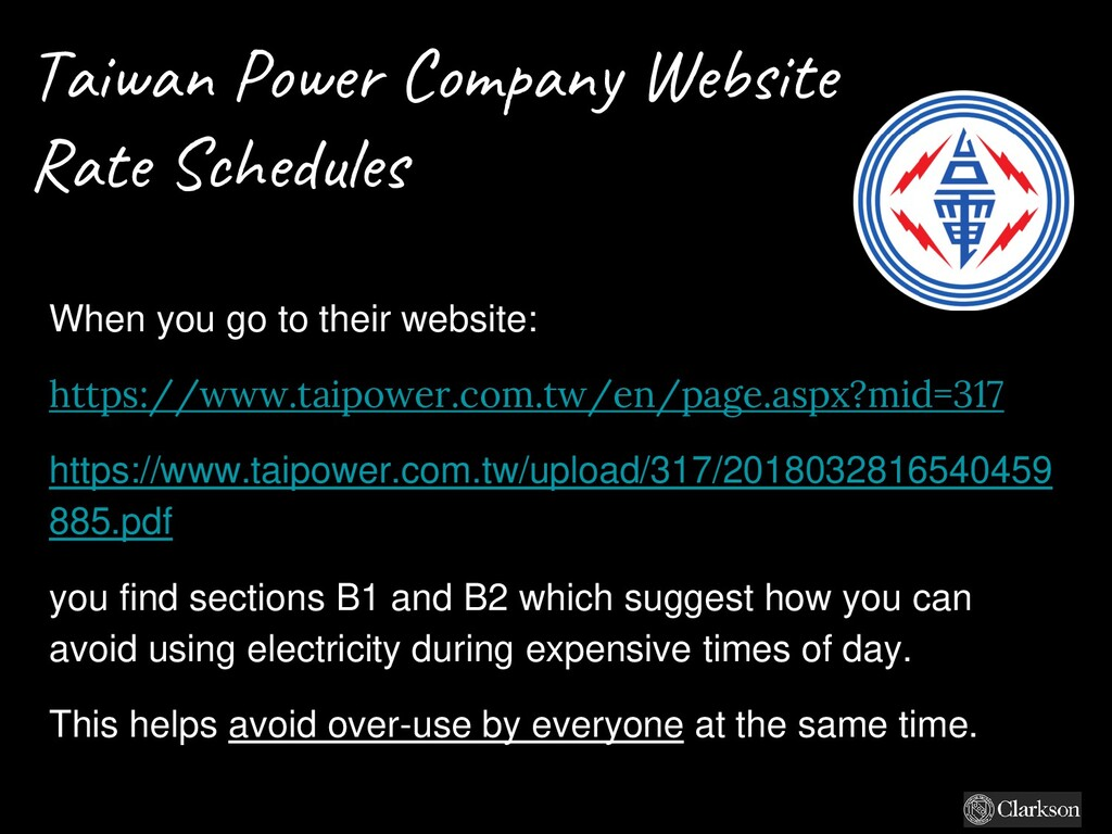 Taiwan Power Company Website Rate Schedules Whe...