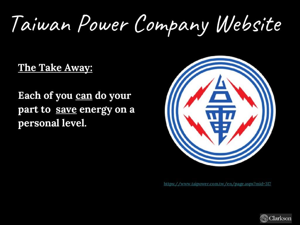 Taiwan Power Company Website The Take Away: Eac...