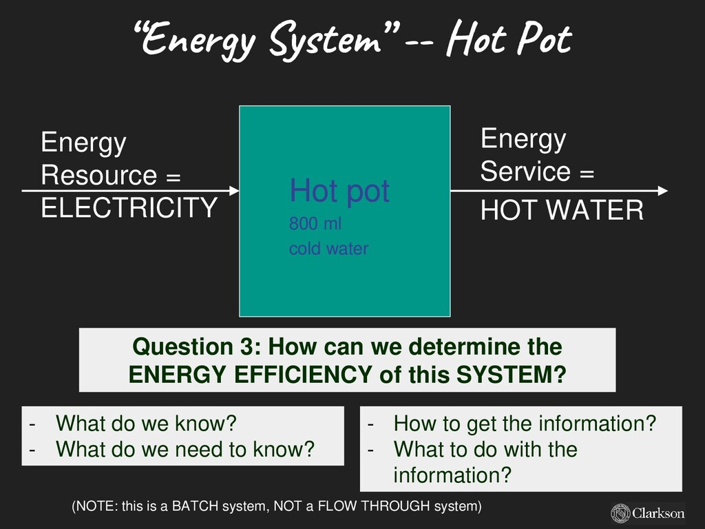 Hot pot 800 ml cold water Energy Resource = ELE...