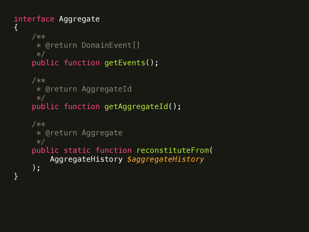 interface Aggregate { /** * @return DomainEv...