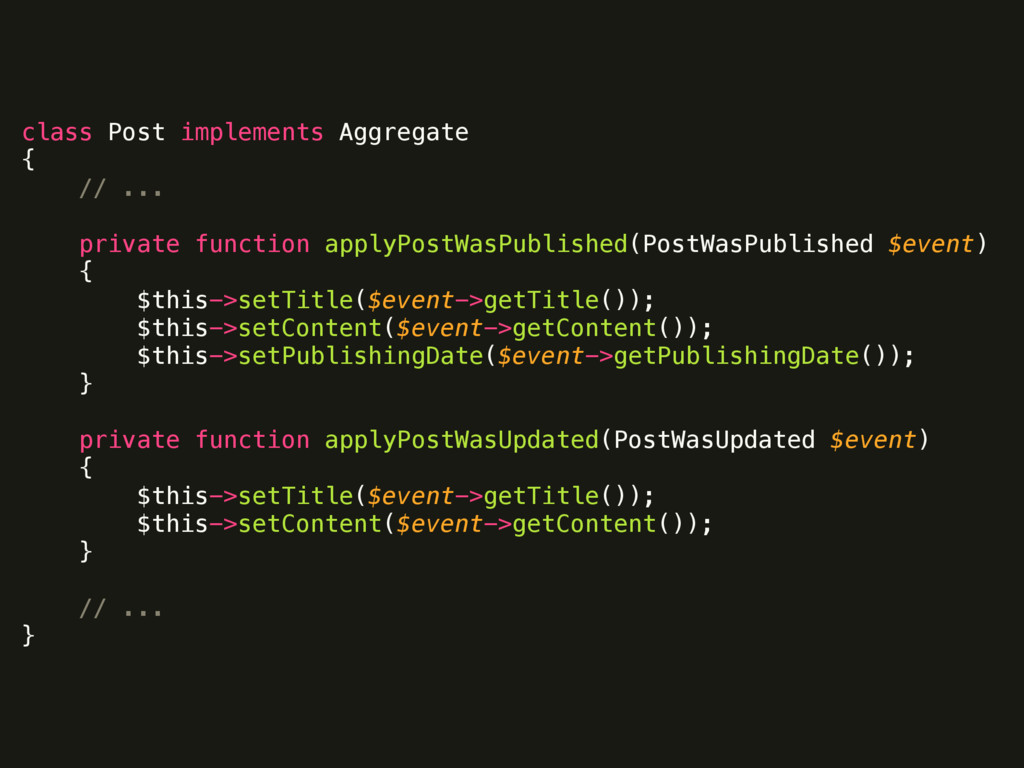 class Post implements Aggregate { // ...  p...